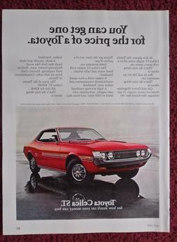 1972 Print Ad Red Toyota Celica ST Car Automobile ~ Hood Ven