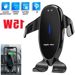 Automatic Clamping 15W Qi Wireless Car Charger Mount Air Ven