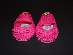 Build a Bear Clothing shoes Hot Pink slip on with bows and v