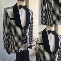 Business Mens Suits Coats Houndstooth Wedding Jackets Shawl
