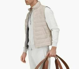 Brunello Cucinelli Man's Vest Jacket Suede Padded Leather Si