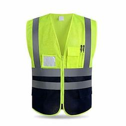 Reflective Safety Vest with Pockets and Zipper,Construction